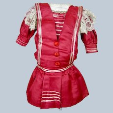 Antique Red Silk Factory French German Doll Dress