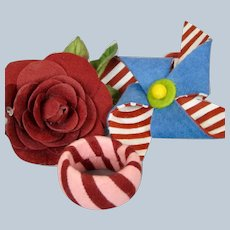 R John Wright Dolls Felt Napkin Holders Convention Souvenirs Rose Pinwheel