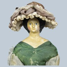 Great Hat for your Antique Early Doll Grodnertal Papier-mache Milliner
