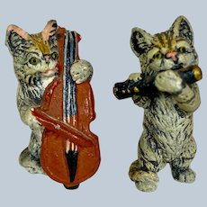 Antique Miniature Cold Painted Musical Doll House German Cats