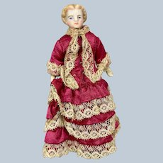 "Antique German 5 1/2"" Tall Bisque Doll House Lady Doll A/O Fantastic Dress!"