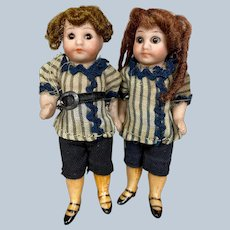 Pair All Bisque Antique Factory Original German Doll House Twin Dolls Googly