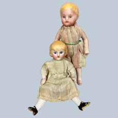 Pair of Original German All Bisque Doll House Dolls