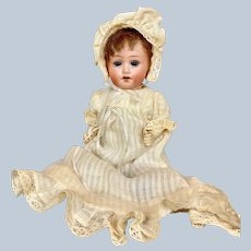 "Sweet 7"" Antique German Bisque Head Herm Steiner Baby Doll"