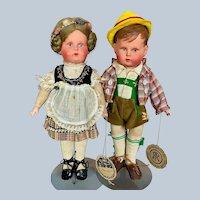 "Gorgeous Pair 11"" German Hard Celluloid Ethnic Dolls All Original w Tags"