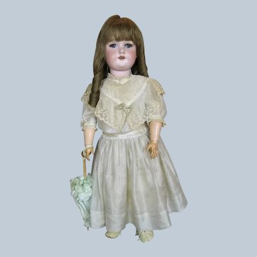 "Antique German 23"" Bisque Head Borgfeldt Doll Antique Silk Dress"