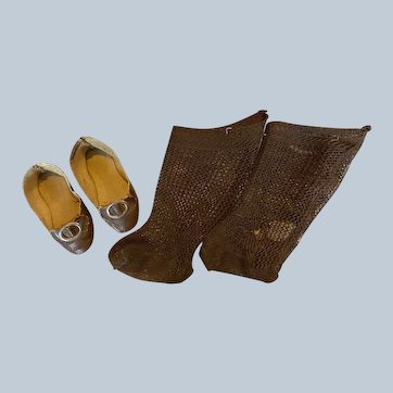 Antique Brown Doll Shoes with Toe Buckles and Socks