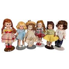 Vintage 1950s Vogue Ginny Lot of Six Dolls!