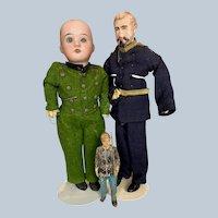 Three Antique German Boy Soldier Dolls Wood Bisque