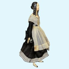 All Original  1840s Papier-Mache Milliner Model Doll ~ Great Hairstyle!