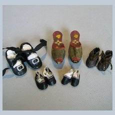 Five Pairs Antique and Vintage Doll Shoes