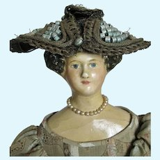 "Early 15"" Apollo Knot Papier-mache Milliner Model German Doll"