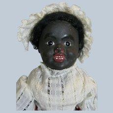 Antique German Black Papier Mache Character Doll