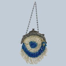 Lovely Antique Small Beaded Bag Purse for your Antique Doll