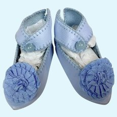 Artisan French Rosette Blue Leather Doll Shoes