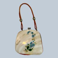 Vintage Shell Doll Purse with Blue Flowers for your Antique Doll