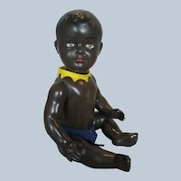 """Adorable 11"""" French Black Celluloid Baby Doll with Glass Eyes"""