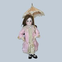 Antique Pink Silk Parasol Bebe Doll Umbrella