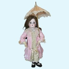 Antique Pink Silk Parasol Bebe Doll Umbrella