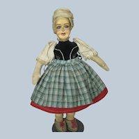 "Vintage 15"" Wood and Cloth Doll ~ Unusual"