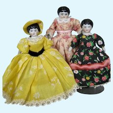Trio of Antique Doll House Size China Head German Dolls