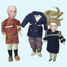 Lot of Two Small Antique German Dolls and One Small German Doll Body