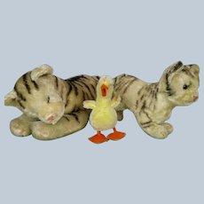 Lot of 3 Vintage Steiff Stuffed Animals ~ Sleeping Cat, Kitten & Duckling