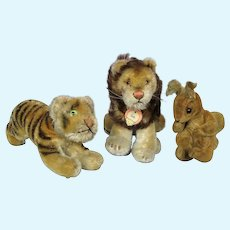 Lot of 3 Vintage Steiff Small Stuffed Animals ~ Possy Squirrel, Leo, Early Brother Tiger Cub
