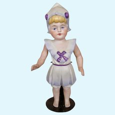 """Adorable 5 1/2"""" All Bisque German Doll with Molded Bathing Suit Clothes"""