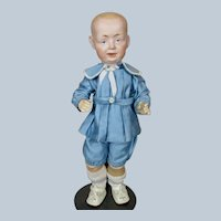 """Adorable 12"""" Antique German Bisque Head Toddler Character Doll"""