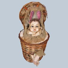 Antique German Wax Baby in Basket Candy Container Bunny