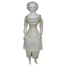 """Antique German 16"""" Parian Untinted Bisque Lady Doll"""