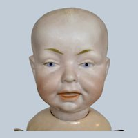 "Cute 14"" Antique German Bisque Head Boy Character Doll"