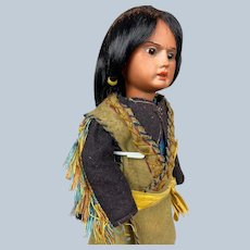 """Antique 13"""" German """"Scowling Indian"""" Native American Doll"""