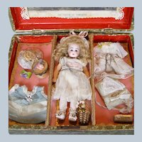 Sweetest Antique German Closed Mouth Doll in Presentation Set Trousseau