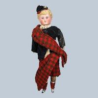 All Original Antique Bisque Parian Scottish Lad Boy Doll