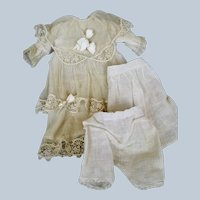 Lovely Antique Net Lace Doll Dress with Original Slip and Pantaloons