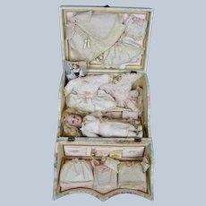 Exquisite Antique German Simon Halbig Doll Presentation Set Trousseau
