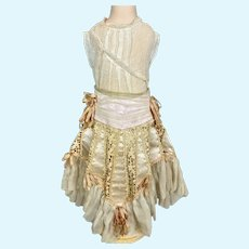 Scrumptious Antique Silk Chiffon Satin Skirt & Chemise Dress for your Doll