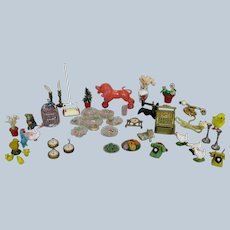 Large Lot Antique and Vintage Doll House Miniatures