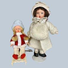 Two Adorable Little Winter Girls ~ Papier-mache & Plastic Dolls