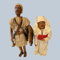 Two Vintage Ethnic Leather Male Dolls