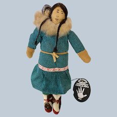 Alaska Native Artist Elizabeth Driggs Signed Authentic Native Doll
