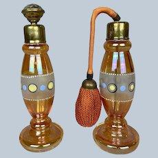 Art Deco Orange & Circles Perfume Duo Antique 1920s