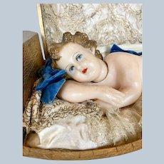 Vintage Italian Music Box Wax Baby ~ Gorgeous lace setting!
