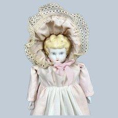"Sweet Antique 14"" Blonde China Head German Doll w Great Hat & Dress"