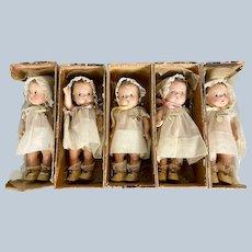 Set of 5 Madame Alexander Dionne Quintuplets in Boxes