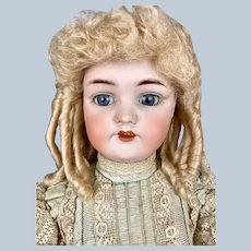 """Antique 24"""" Simon Halbig German Doll w Antique Blue Dress"""
