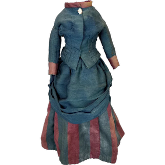 Antique Bustle Skirt and Jacket Dress for French Fashion Doll