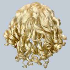 Antique Blonde Mohair Curly Doll Wig